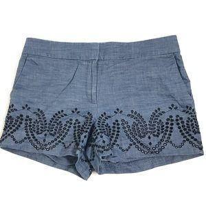 LOFT Shorts Embroidered Eyelet All Cotton Denim 12